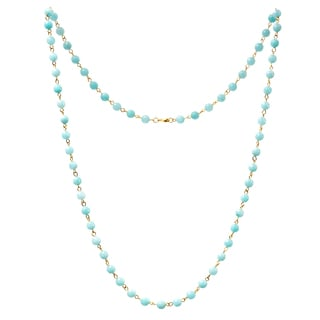 Alchemy Jewelry 22k Gold Overlay Light Blue Agate Bead Necklace