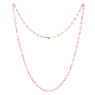 Alchemy Jewelry 22k Gold Overlay Rose Quartz Bead Necklace