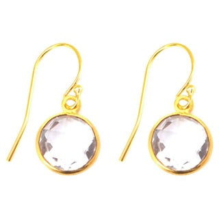 Alchemy Jewelry Gold Overlay White Quartz Circle Gemstone Earrings