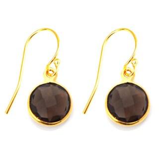 Alchemy Jewelry Gold Overlay Smoky Quartz Drop Earrings