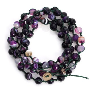 Alchemy Jewelry Macrame Purple Sardonix Bead Wrap Bracelet