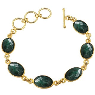 Alchemy Jewelry Emeral Oval Shaped Gemstone Bracelet