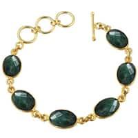 Alchemy Jewelry Emeral Oval Shaped Gemstone Bracelet