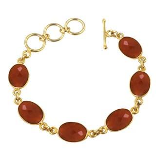 Alchemy Jewelry Carnelian Oval Gemstone Bracelet