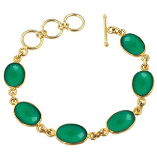 Alchemy Jewelry Green Onyx Oval Gemstone Bracelet