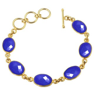 Alchemy Jewelry Gold Overlay Blue Chalcedony Oval Gemstone Bracelet