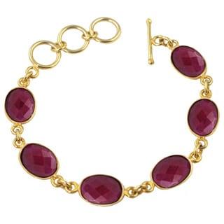 Alchemy Jewelry Oval Ruby Gemstone Link Bracelet