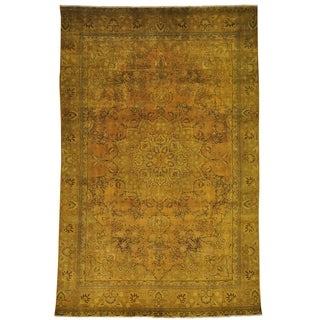 Hand-knotted Overdyed Worn Persian Tabriz Oriental Area Rug (7'3 x 11'4)