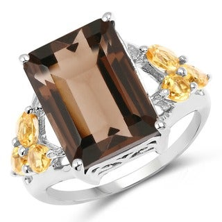 Malaika 8.10 Carat Smoky Quartz and Citrine Ring in Sterling Silver