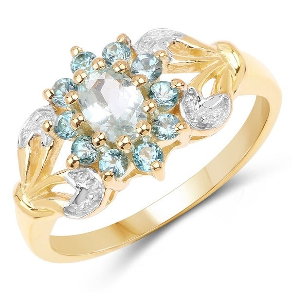 Diamond /& Aquamarine Ring Sterling Silver or Yellow Gold Plated