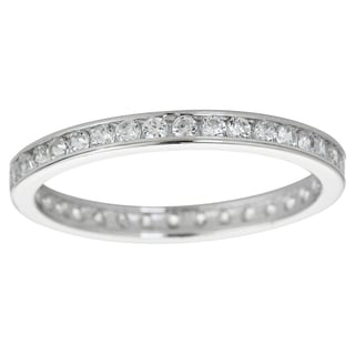 Decadence Sterling Silver Micropave Round-cut Cubic Zirconia Eternity Ring