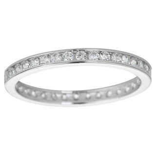 Decadence Sterling Silver Micropave Round-cut Cubic Zirconia Eternity Ring (4 options available)