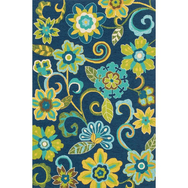 Lime Green And Blue Rug: Hand-hooked Indoor/ Outdoor Capri Blue/ Green Floral Rug