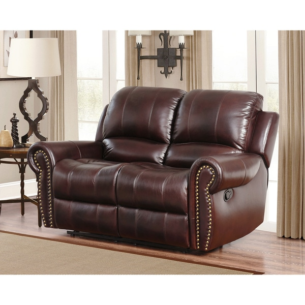 abbyson premium topgrain leather reclining loveseat