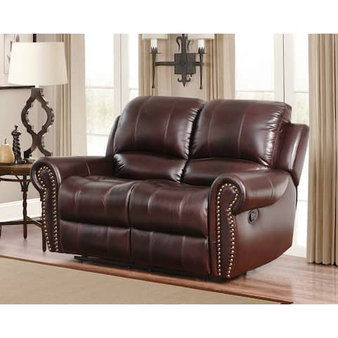 Abbyson Broadway Top Grain Leather Reclining Loveseat