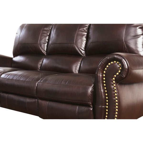 Abbyson Madison Top Grain Leather Pushback Reclining Sofa   Free Shipping  Today   Overstock.com   17119563