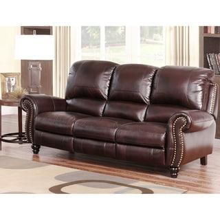 Abbyson Madison Top Grain Leather Pushback Reclining Sofa