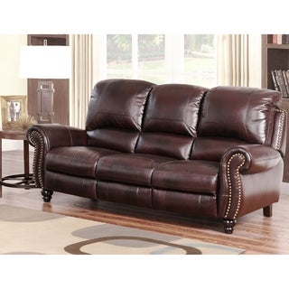 Abbyson Madison Premium Grade Leather Pushback Reclining Sofa