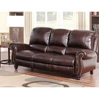 Abbyson Madison Top Grain Leather Pushback Reclining Sofa