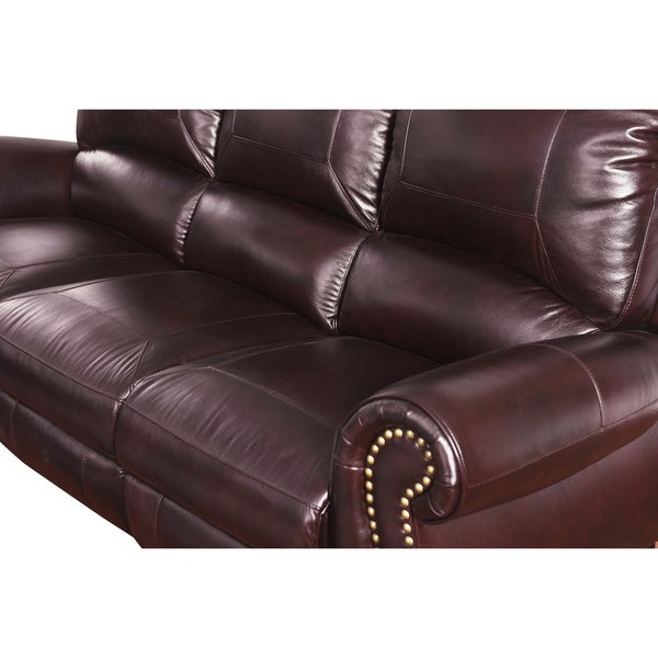 Abbyson Madison Top Grain Leather Pushback Reclining Loveseat   Free  Shipping Today   Overstock.com   17119564