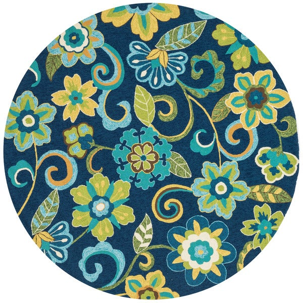Hand Hooked Indoor Outdoor Capri Blue Green Floral Round