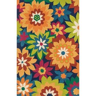 Hand-hooked Indoor/ Outdoor Capri Navy/ Multi Floral Rug (2'3 x 3'9)