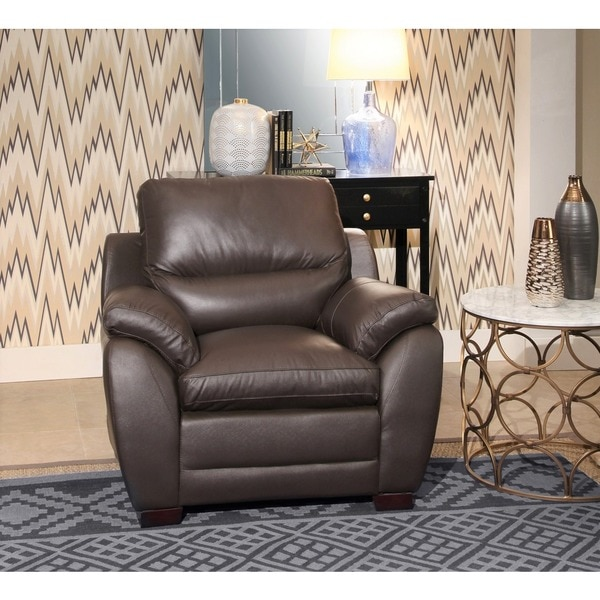 Abbyson U0026#x27;Monarchu0026#x27; Top Grain Brown Leather Armchair