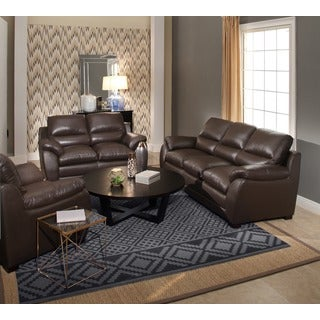 Abbyson 'Monarch' Top Grain Brown Leather Sofa and Loveseat