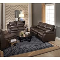 Abbyson 'Monarch' Top Grain Brown Leather Sofa and Loveseat