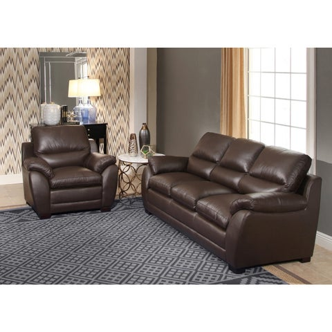 Abbyson Monarch Top Grain Brown Leather Sofa and Armchair