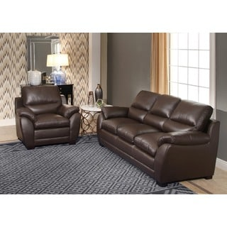 ABBYSON LIVING Monarch Top Grain Brown Leather Sofa and Armchair