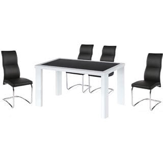 Black Tempered Glass Cafe 5-piece Dining Set
