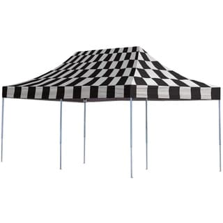 Shelterlogic Checkered Flag Straight Leg Pop-up Canopy with Roller Bag (10' x 20')