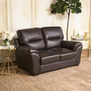 abbyson caprice top grain brown leather loveseat