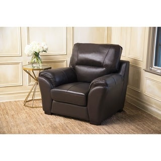 Abbyson Caprice Top Grain Espresso Leather Armchair