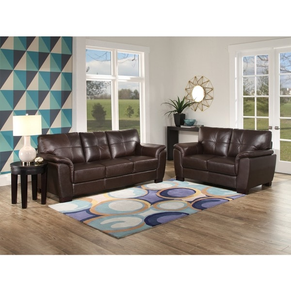 Overstock Living Room Sets: Abbyson 'Belize' Brown Leather 2 Piece Living Room Set