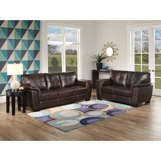 ABBYSON LIVING 'Belize' Top Grain Brown Leather Sofa and Loveseat
