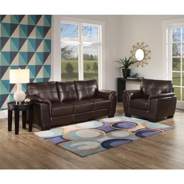 Shop Abbyson 'Belize' Brown Leather 2 Piece Living Room