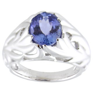 Sterling Silver Oval Tanzanite Textured Leaf Ring