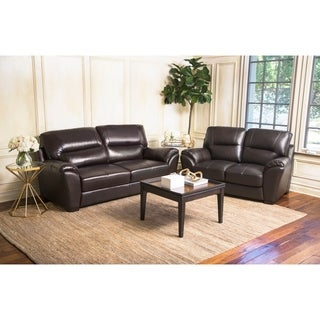 Abbyson Caprice Top Grain Leather Sofa and Loveseat