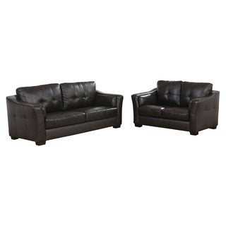 ABBYSON LIVING 'Torrance' Top Grain Dark Brown Leather Sofa and Loveseat