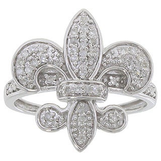 10k White Gold 1/4ct TDW Diamond Fleur de Lis Ring