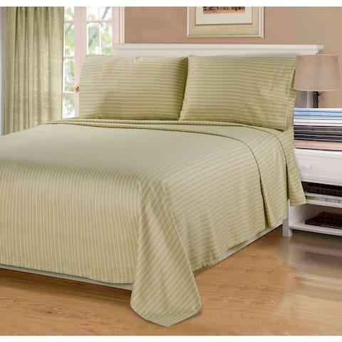 Superior 600 Thread Count Deep Pocket Bahama Stripe Cotton Blend Bed Sheet Set