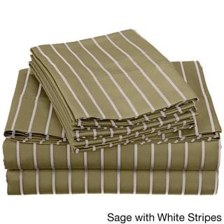 Superior Wrinkle-resistant Plain Weave 600 Thread Count Bahama Striped Sheet Set