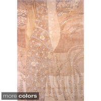 Momeni New Wave Beige Hand-Tufted and Hand-Carved Wool Rug - 3'6 x 5'6