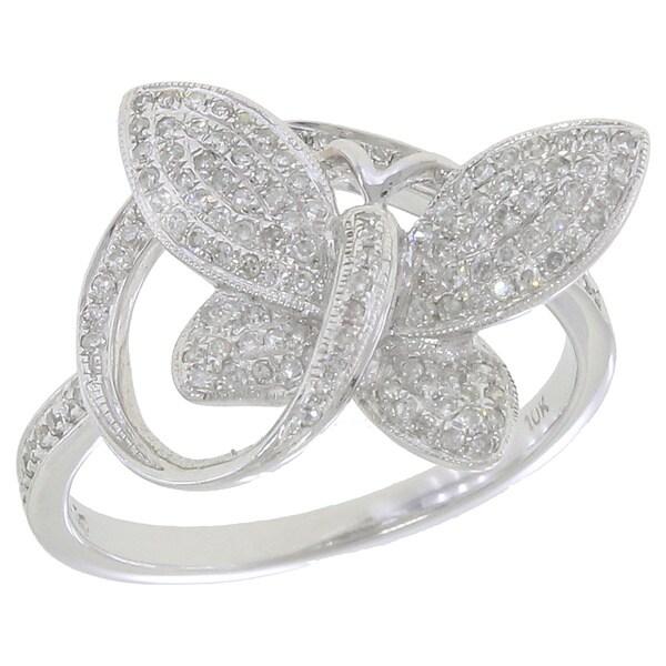 10k White Gold 1/3ct TDW Diamond Butterfly Ring