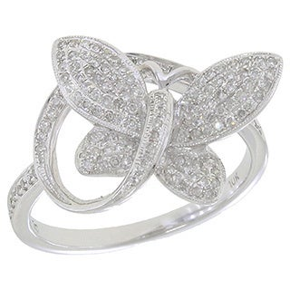 10k White Gold 1/3ct TDW Diamond Butterfly Ring