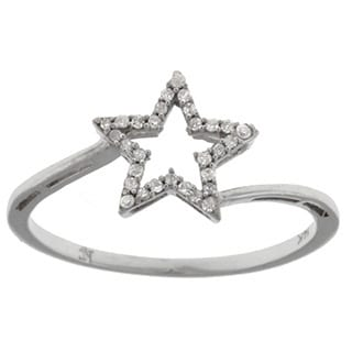 14k White Gold 1/10ct TDW Diamond Star Ring