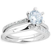 Sterling Silver Cubic Zirconia Solitaire Bridal Ring Set