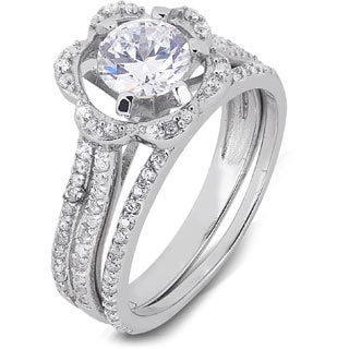 Sterling Silver Cubic Zirconia Flower Bridal Ring Set